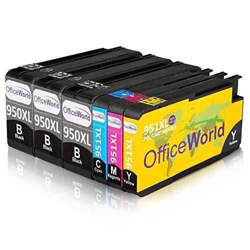 OfficeWorld Kompatible Patronen Ersatz für HP 950XL 951XL Druckerpatronen Hohe Kapazität mit Neuer Chips Kompatibel für HP Officejet Pro 8600 8610 8620 8630 8640 8100 8660 8625 8615 251dw 276dw (3 Schwarz, 1 Cyan, 1 Magenta, 1 Gelb)
