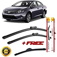 Set of 3 flat blade wiper blades for T0Y0TA AVENSIS II 2003-2008 rear wiper