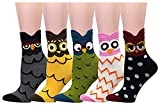 LHZY Womens Mädchen Socken 5 Pack, lustige Neuheit Owl Design, Baumwolle Mischung Crew über Knöchel
