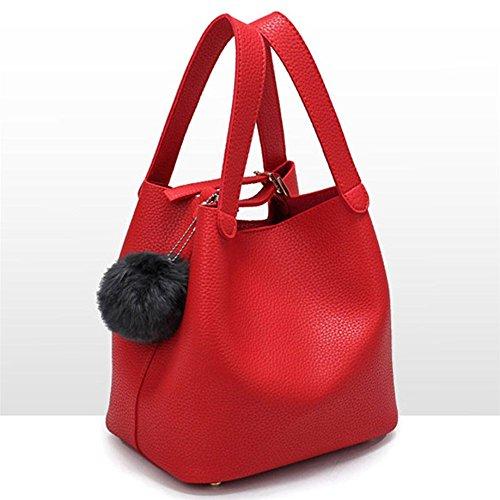 Sacchetto a forma di secchio, Longra Donna Borsa singola della spalla, sacchetto alla spalla alla moda, ciondolo a sfera dei capelli Rosso