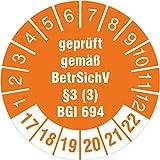 10 Stück Prüfplakette geprüft gemäß BetrSichV §3 (3) BGI 694 (2017-22) Leitern und Tritte30 mm Durchmesser selbstklebend orange