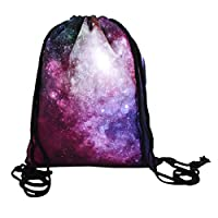LA HAUTE Galaxy Drawstring Bag 3D printed Backpack Gymsack Gym Bag School Travel Backpack