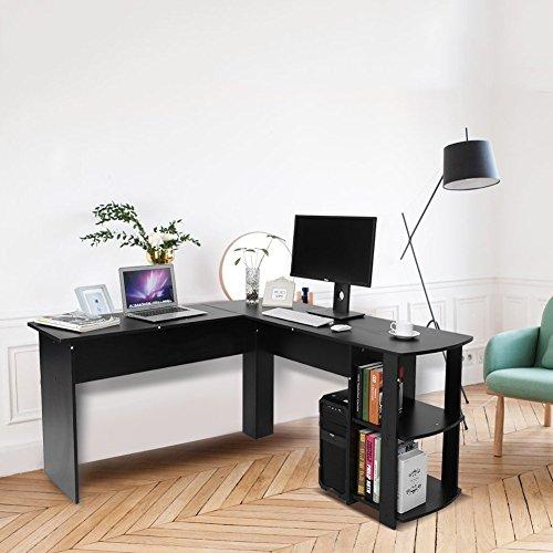 Yosoo Forma - L Mesa Escritorio de Computadora, PC, Ordenador Portátil con Estantería de Libros, Para Esquina de Oficina y Estudio de Casa (Negro)