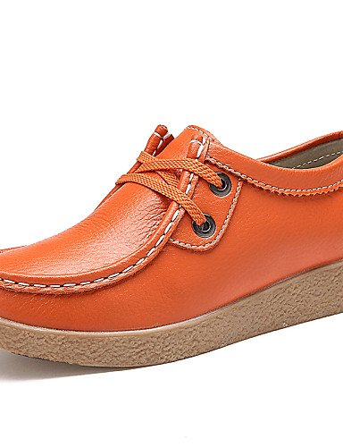 ZQ Scarpe Donna - Stringate - Ufficio e lavoro / Casual / Serata e festa - Comoda / Punta arrotondata - Piatto - Di pelle -Nero / Giallo / , orange-us8.5 / eu39 / uk6.5 / cn40 , orange-us8.5 / eu39 /  black-us7.5 / eu38 / uk5.5 / cn38