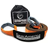 """GearAmerica Recovery Tow Strap 3"""" X20' Heavy Duty Lab Tested 35,054 Lbs (17.5 Tons) Strength Triple Reinforced Loops + Protective Sleeves Emergency Off Road 4X4 Towing Free Storage Bag 3"""" x 20' Orange"""