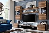 Juub Wohnwand Anbauwand Wohnzimmer Schrankwand Fresh Hochglanz LED Beleuchtung TOP - Fresh Nussbaum