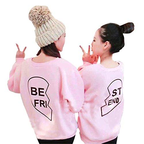 Bekleidung Sweater Loveso Hebst Winter Kleidung Damen Sisters Apparel Langarm Shirt BESTER FRIEND Brief drucken Sweater mit Kapuze Spitzenbluse (EU (Größe) : 36, Pink)