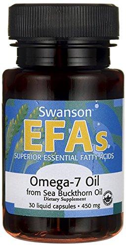 Swanson - Oméga-7 Huile d'Argousier PURE (Sans OGM) 450mg, 30 gélules - Omégas 3-6-9 - Santé...