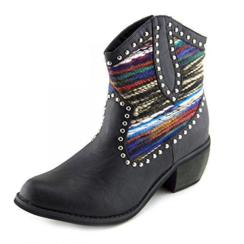 Kick Footwear - Donna delle signore di Colore che gli Stivali da Cowboy con multi Colore Modello Tela di Design UK Nero