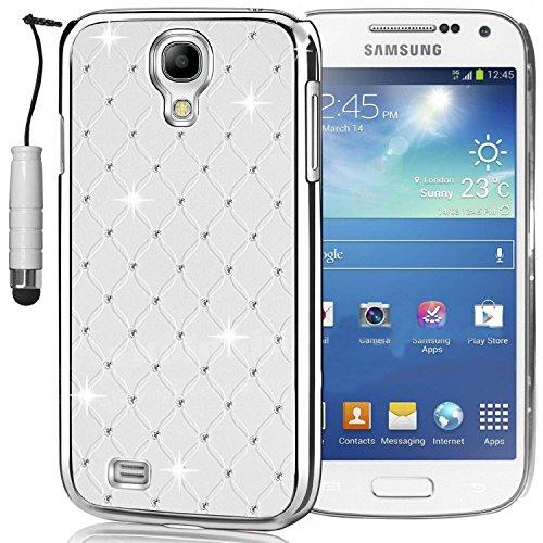 SK Micro® Diamant Bling Chrom Strass Hülle Hard Case Cover für Samsung Galaxy S4Mini I9190Bildschirm, mit Displayschutzfolie und Eingabestift weiß Chrom Hard Case