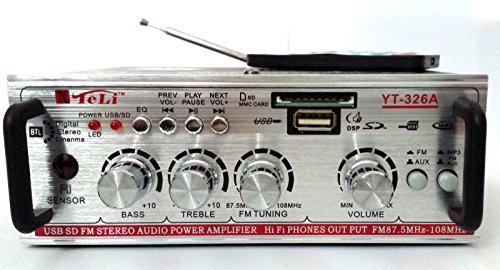 Teli, YT-326A - Mini amplificador para casa y coche 12–220V con entradas RCA, AUX y toma USB, tarjeta SD, radio FM, ajuste de bajos y altos para pequeños altavoces impermeables, para casa, coche, pub, bar, restaurante, hotel, piscina, playa, pizzería