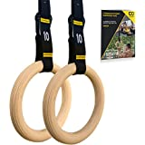 Double Circle Gymnastic Rings + Competition Straps By Double Circle: Gymnastics Equipment For CrossFit Muscle Gain & Bodyweight Training Strong Wood 100% Non-Slip Quick Adjustable Straps For Easy Use