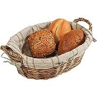 Kesper Bread Basket 27x24x15cm of Willow, Fabric, Brown, 27 x 24 x 15 cm