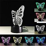 WAOBE 3D Illusion Nachtlicht Schmetterling LED 7 Farben Tischlampe Schlafzimmer Kinderzimmer Dekorative Schreibtisch Licht, Touch und Fernbedienung , Touch