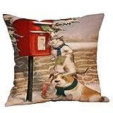 Beikoard Weihnachten Kissenbezug, Weihnachten Kissenbezug Vintage Sofa Bett Deko Kissen Cover Leinen 45x45 cm Blume Sofa Cushion Cover Pillow Case
