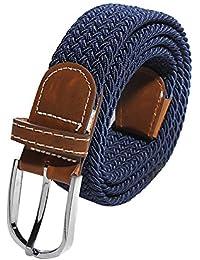 Belt - SODIAL(R)Men Elastic Stretch Woven Canvas Leather Pin Buckle Waist Belt Navy