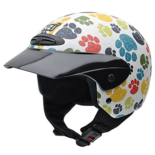 NZI 050272G707 Single Jr Graphics Pawprints Casco de Moto, Diseño Huellas de Animales de Colores, Talla 50-51 (S)