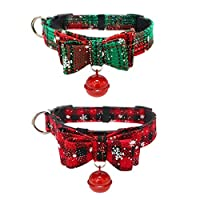 ‏‪Stock Show 2Packs Christmas Cat Bowtie Collars with Cute Bell Cat Plaid Breakaway Collar with Beautiful Snowflakes Printed Pet Xmas Collar Costume Dressup Gift for Small Dog Puppy Cat, Red&Green‬‏
