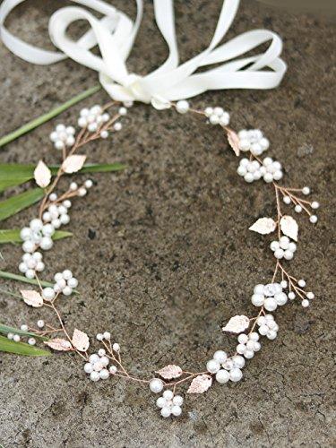 handmadejewelrylady Rose Gold Leaf Haarbänder Hochzeit Haar Zubehör Braut Haar Schmuck für Frauen Kopfbedeckung Tiara Brautschmuck Haarband