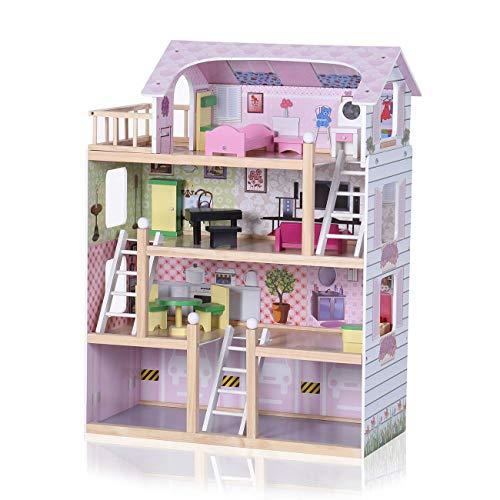 Baby Vivo Puppenhaus Zubehör Holz Puppen inkl. Möbeln Treppe Bett 13 Teile Puppenhausmöbel Kinderspielzeug - Lavinia -