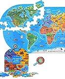 Mappa del mondo Jigsaw Puzzle (100 pezzi), Mappa del puzzle del mondo con pacchetto squisito, giocattolo educativo di sviluppo precoce per bambini Compleanno regalo di Natale