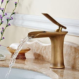gimili baño grifo del fregadero antiguo acabado cascada único mango ranurado, solo agujero lavabo monobloque de grifo mezclador monomando para