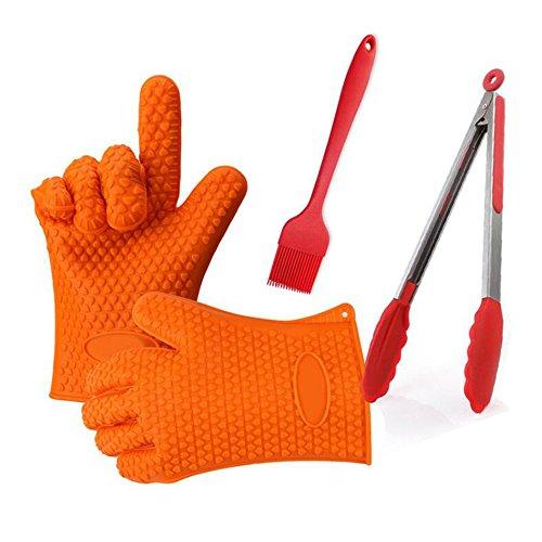 ORPERSIST Grill-Set, Kieselgel, 3-teilig, lebensmittelechtes Silikon, Handschuhe, Bürste, Lebensmittel-Clip, Grill-Werkzeuge