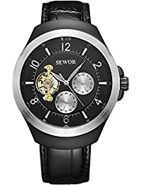 SEWOR reloj para hombre vestido de Tourbillon mecánico automático de color negro y plateado funda de piel Para Muñeca relojes esfera negra