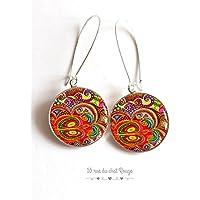 Orecchini cabochon, Paisley, India, colori, multicolore, colorato, orientale