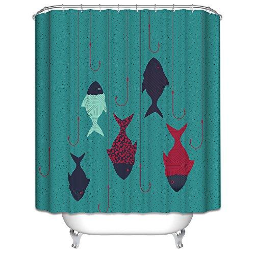 Schönes leben* spezielle Design 3D Duschvorhänge Duschvorhang Badewannenvorhang mit 12 Duschvorhangringe anti schimmel wasserdicht 180*200cm ( Fisch und Hacken) (Duschvorhang Fische)