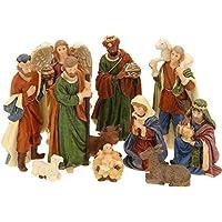 Weihnachtskrippe Figuren - 11 Teile - Krippe Figur handbemalt Krippenzubehör
