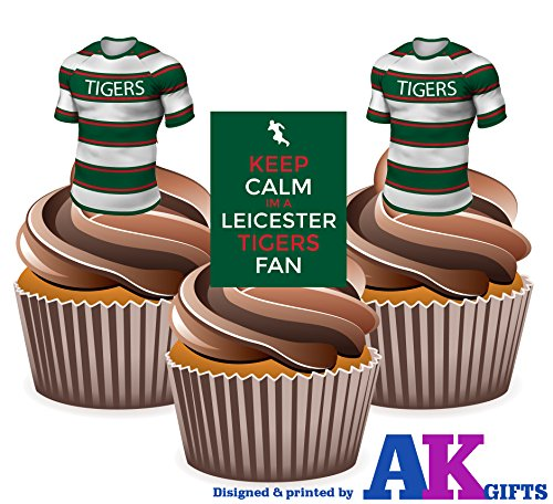 leicester-keep-calm-and-rugby-mix-col-montant-tasse-comestible-gateau-decorations-lot-de-12