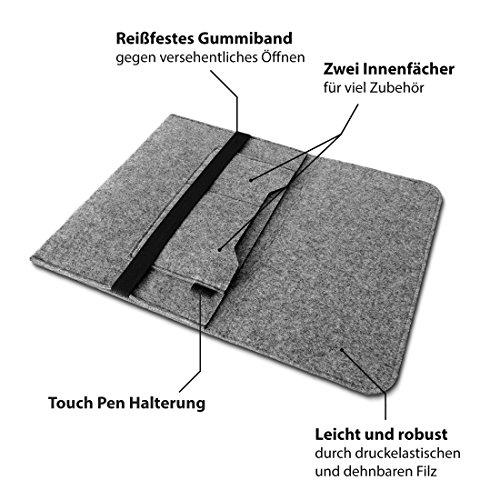 Trekstor Primebook C13 Notebook Sleeve Hlle Laptoptasche Schutzhlle 133 Zoll Laptop Filz event FarbenHell Grau Hllen