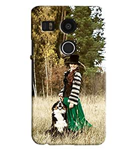 Blue Throat Girl With Dogs Hard Plastic Printed Back Cover/Case For LG Google Nexus 5x