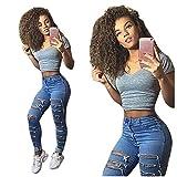 JYJM Damen Sexy Denim Skinny Zerrissene Hose Hohe Taille Stretch Jeans Slim Bleistift Hose Slim Jeans Fashion Cool Denim Elegant Pants