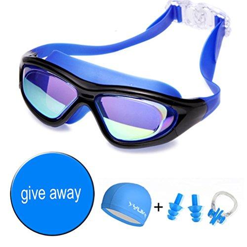 Schwimmbrille Hd Beschlagfrei Wasserdichte Beschichtung Große Box Schwimmen Brille Senden Badekappe , Blau (Für Clip Sonnencreme)