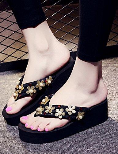 Été des sandales Mode pantoufles Chaussons féminins été Pantoufles de plage de plage antidérapante Côté épais de la pantoufle féminin Pantoufles Couleur / taille facultative ( Couleur : D , taille : E D
