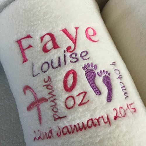 PERSONALISED CREAM + PINK PURPLE BLANKET KEEPSAKE GIFT FOR NEWBORN BABY, TODDLER OR, BIRTHDAY PRESENT