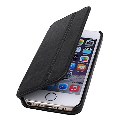 LAVADIA Design Lederklapphülle Case Tasche Arizona für Apple iPhone 5/5S/SE schwarz aus echtem Leder mit Visitenkarten- und Geldfach. Dünne Ledertasche Hülle zum aufklappen als edles Zubehör