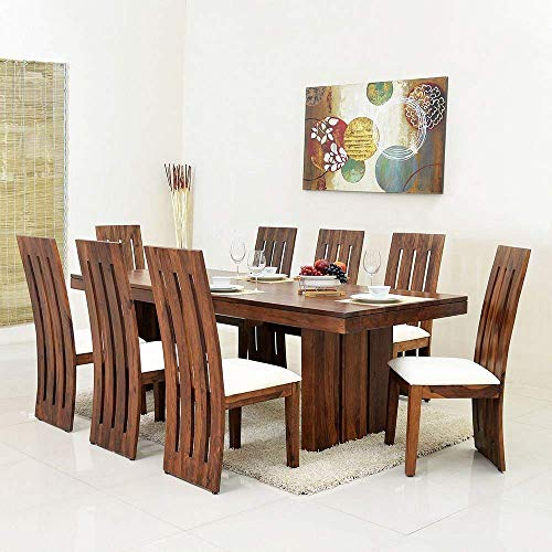 Woodstage Sheesham Wood 8 Seater Dining Set Furniture for Home with 8 Chairs (Teak Finish)