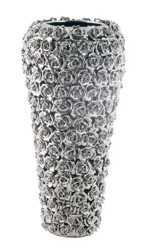 Kare 65662 Grand vase Chromé/motifs de rose