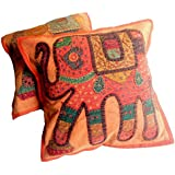 2pcs Hecho a mano apliques único Patchwork étnico indio elefante fundas de cojín de almohada de mantas, algodón, Naranja, 16 X 16 Inches