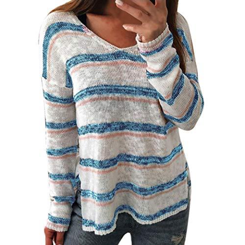 OYSOHE Damen Strick-Shirt Sexy V-Ausschnitt Streifen Langarm Pullover Tops