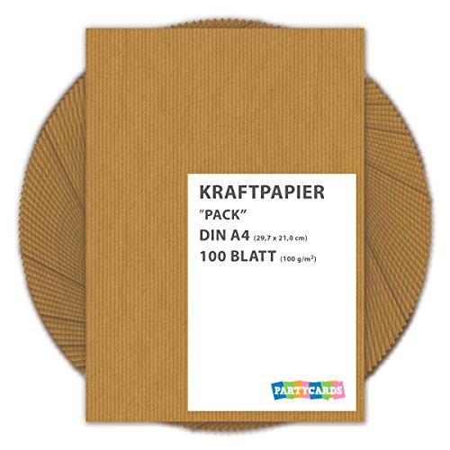Kraftpapier braun 100 Blatt Bögen DIN A4 gerippt im Set Packpapier ideal Urkunden Einladungen Hochzeit Deko Weihnachten Geschenk Geschenkpapier 100gm² Hot Pink Karten-umschläge