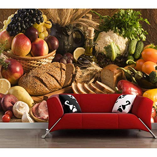 Ljtao Rohe Wandgemälde DesKundenspezifischenObst- UndGemüselebensmittels Der Tapete 3DFür Restauranthotel-Küchenhintergrund-Inneneinrichtungstapete-450Cmx300Cm -