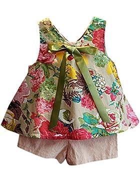 [Patrocinado]Ropa para chicas, RETUROM Ropa Set de nueva Casual niña camiseta Floral chaleco + pantalones cortos