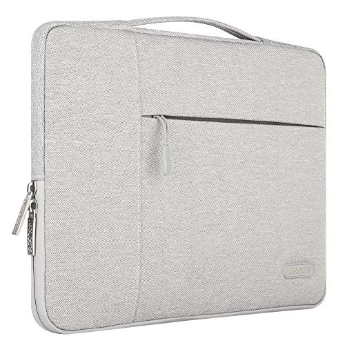MOSISO Sleeve Hülle Kompatibel 15 Zoll MacBook Pro mit Touch Bar A1990/A1707 2018 2017 2016, auch 14 Zoll Notebook Multifunktion Spritzwasserfest Tasche mit zusätzlichem Stauraum Hülle, Grau