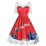 TEBAISE Weihnachten Kleid Vintage Rockabilly Spitze Cocktailkleid Ballkleider Swing Knielang Kleid Partykleider