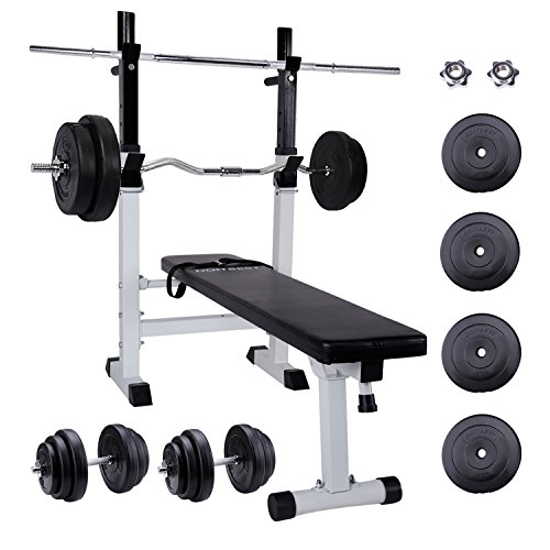 CCLIFE Multifunktion Hantelbank set mit 96kg Hantelset , Trainingsbank Kraftstation Bankdrücken...