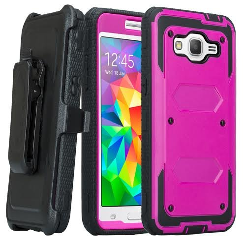 Samsung Galaxy ON5 Fall, Galaxy ON5 Heavy Duty Gürtelclip Swivel Holster Case, Full Body Deckung mit Built in Displayschutzfolie/robusten Schutz für Galaxy ON5, Violett/Schwarz Heavy-duty Swivel Holster
